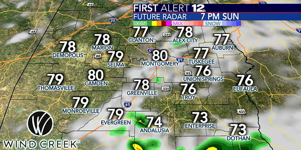 Scattered rain chances return for Sunday
