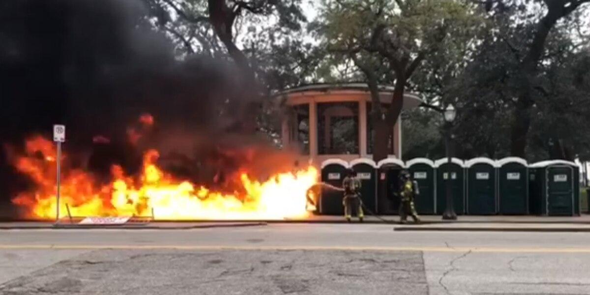 WATCH VIDEO: Crappy start to Mardi Gras, 6 porta potties catch fire in Mobile