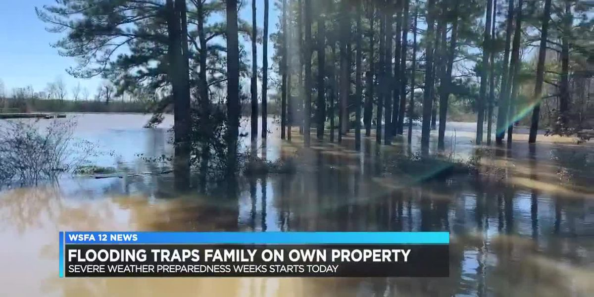 Flooding traps family on own property