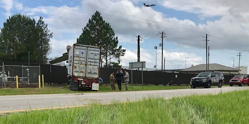 18-wheeler crashes into fence at 187th Fighter Wing in Montgomery