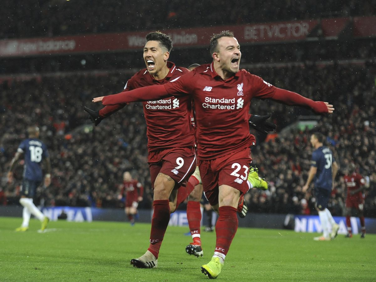 Shaqiri double earns Liverpool 3-1 win over Man United