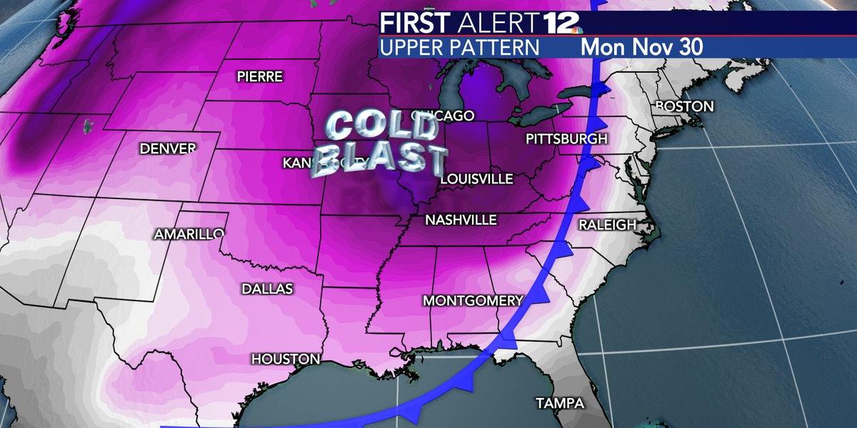 First Alert: Shot of very cold air to invade Alabama next week