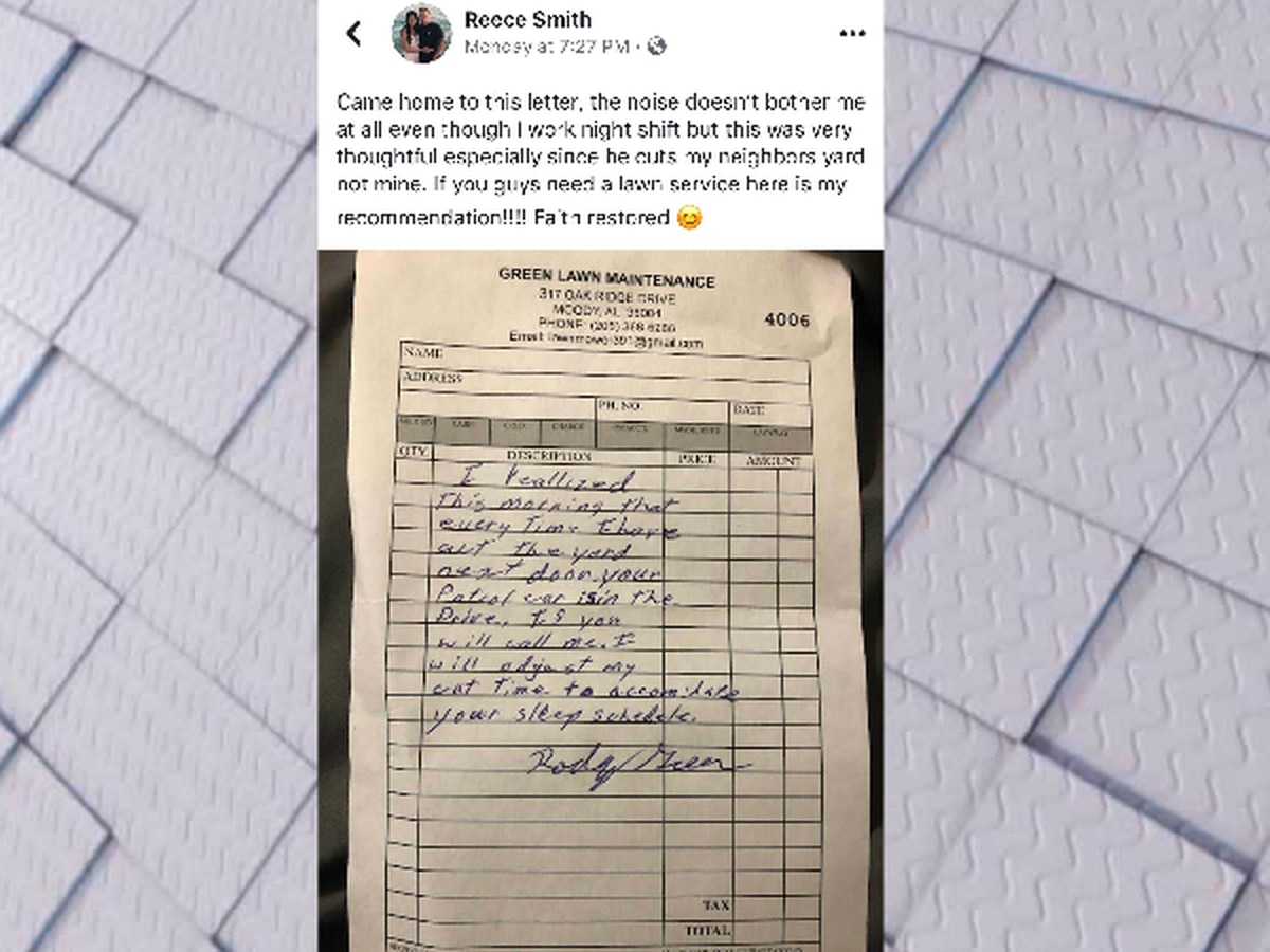 Moody police officer meets stranger who left 'very thoughtful' note
