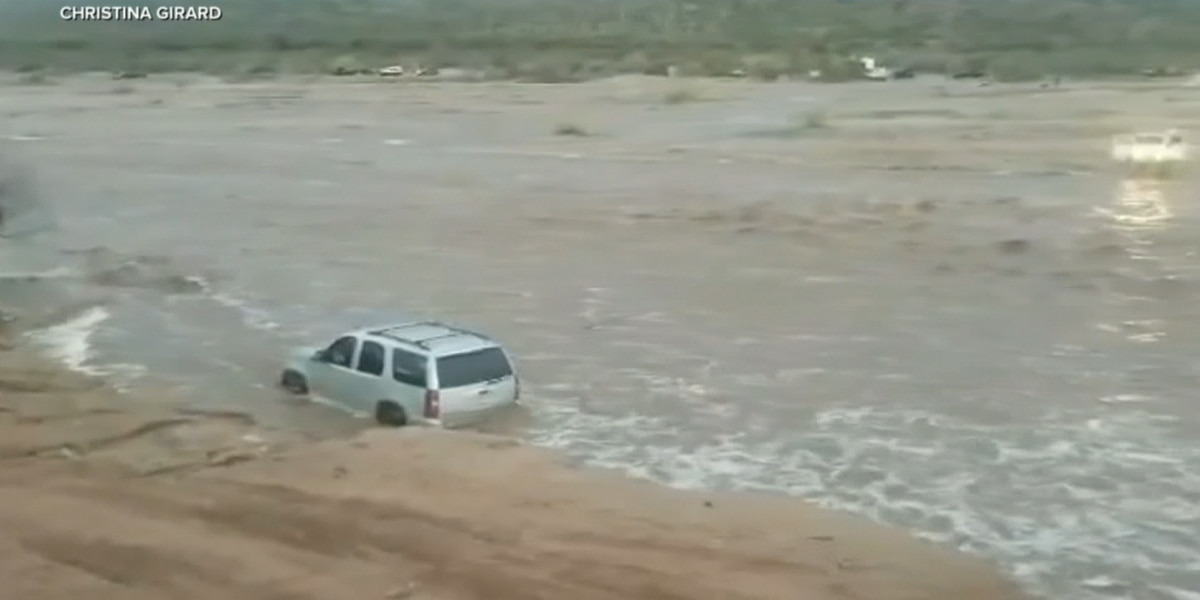 WATCH: Arizona off-roading family, dog saved from raging flood
