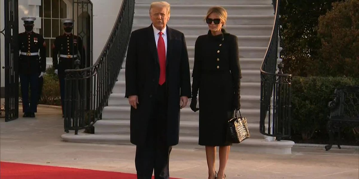 Trump, first lady walk out of White House
