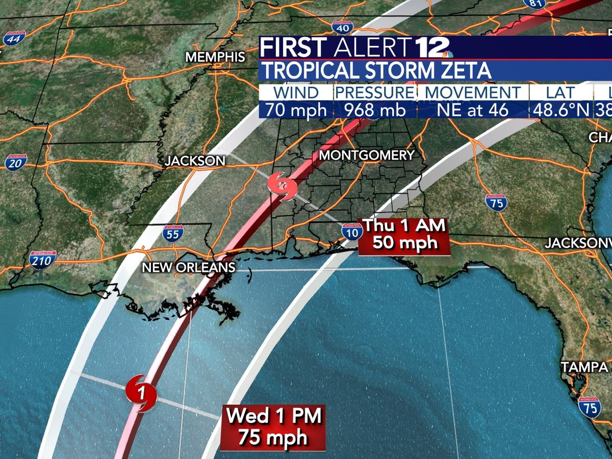 Zeta to become hurricane, head for northern Gulf Coast