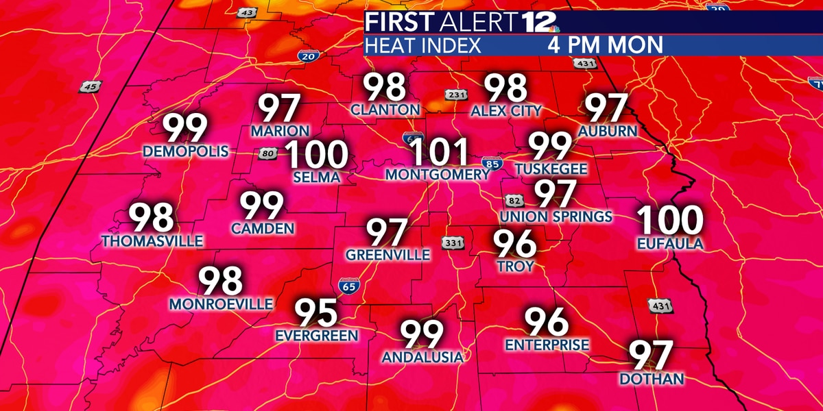 Triple digit heat index temperatures and scattered storms