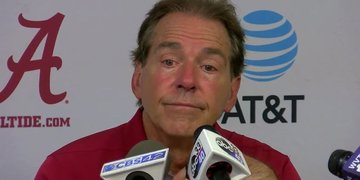 Nick Saban speaks after Alabama's victory over South Carolina