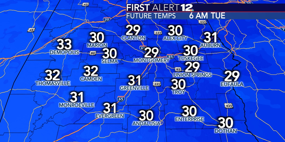 Below freezing temperatures expected for all of Alabama tonight!
