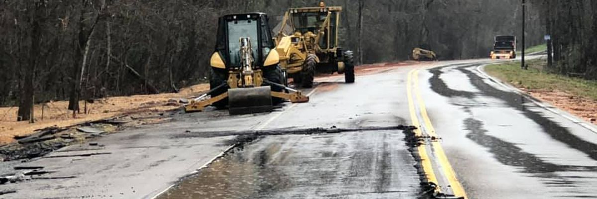 Water recedes but damaged Dozier Road remains closed