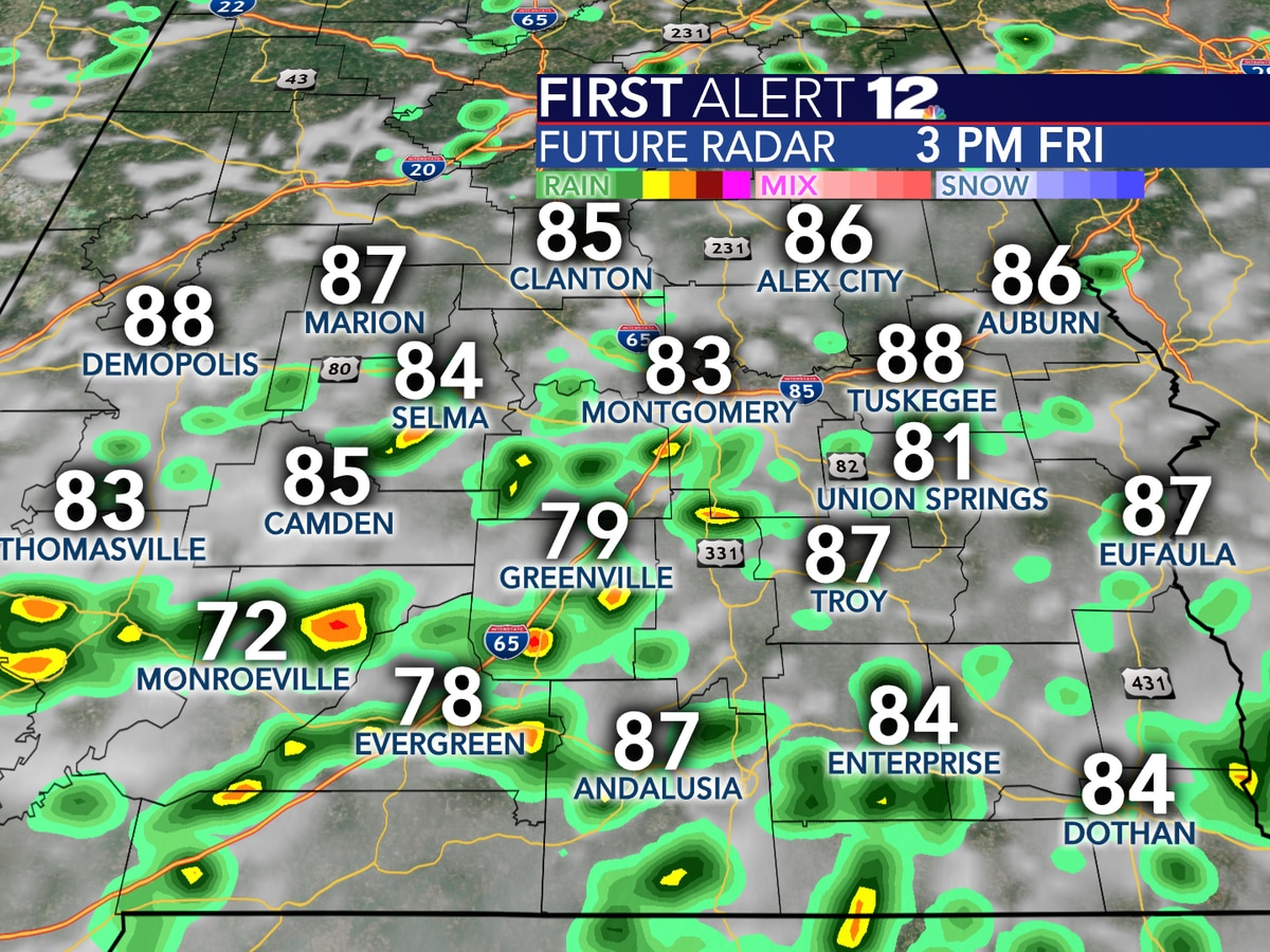 Scattered showers, storms today before Alabama trends drier and hotter