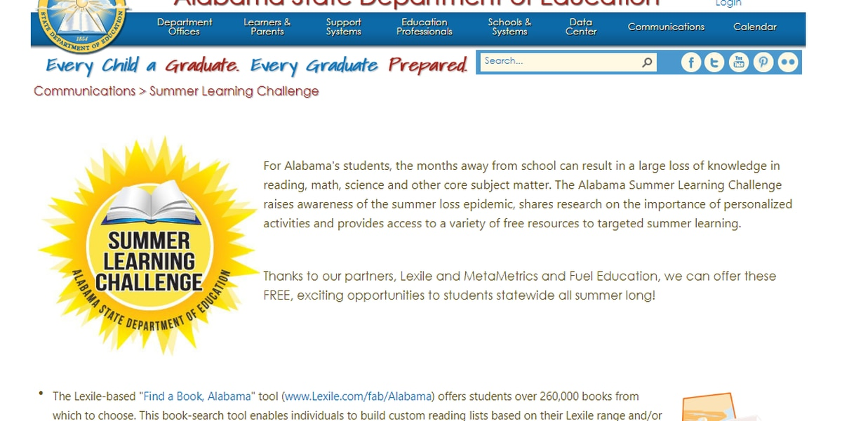 Alabama kicks off Summer Learning Challenge for students