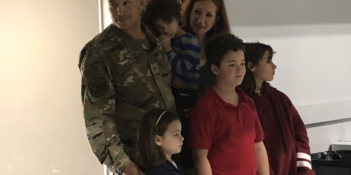 Airman returns from deployment to surprise his children at their school