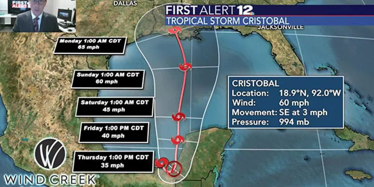 Tropical Storm Cristobal and its potential impacts on our weather this weekend