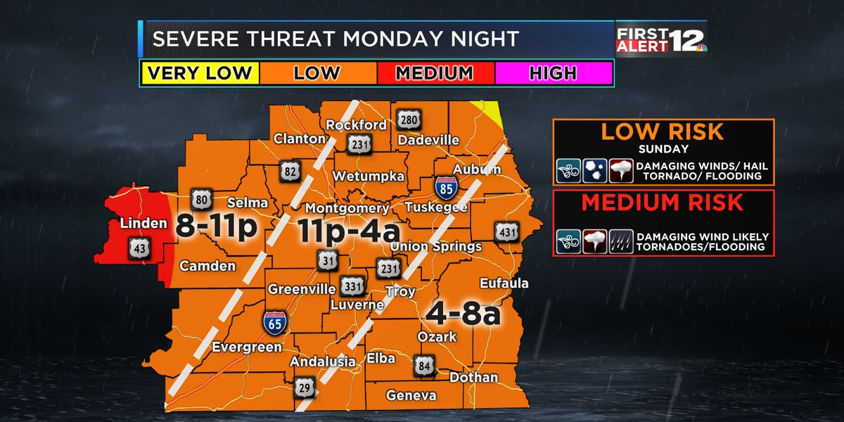 Risk of strong storms Monday night