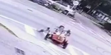 Toddler hospitalized after driving off with, crashing father's motorcycle