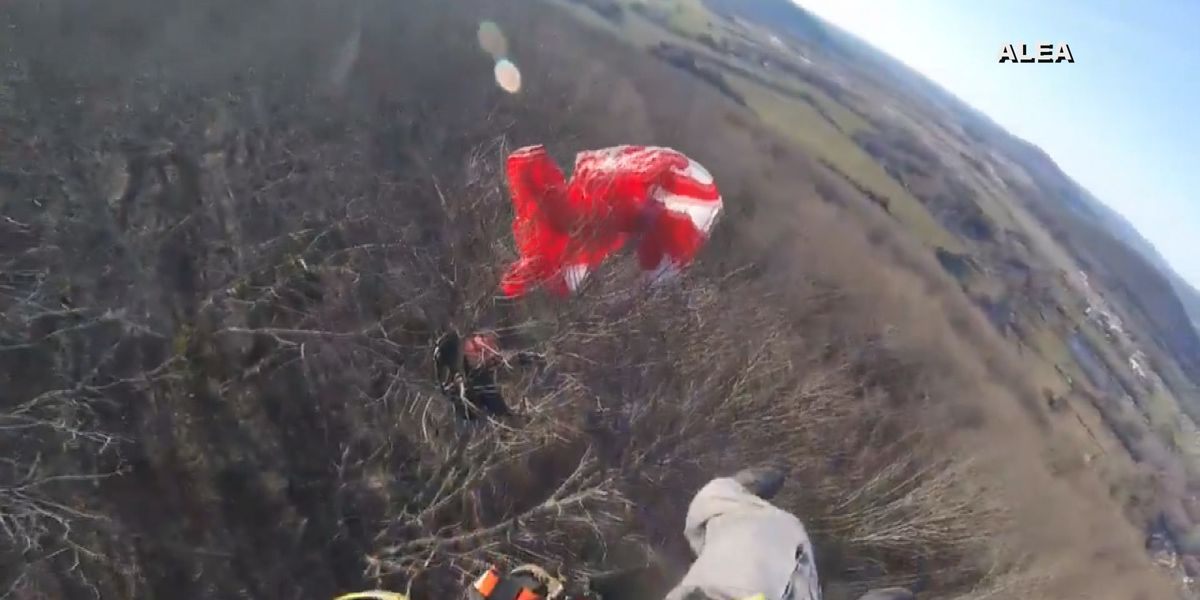 Paraglider rescued after getting caught in tree near Gurley