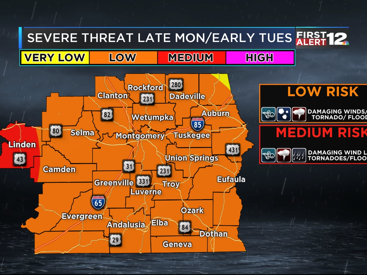 Risk of strong storms Monday night, early Tuesday