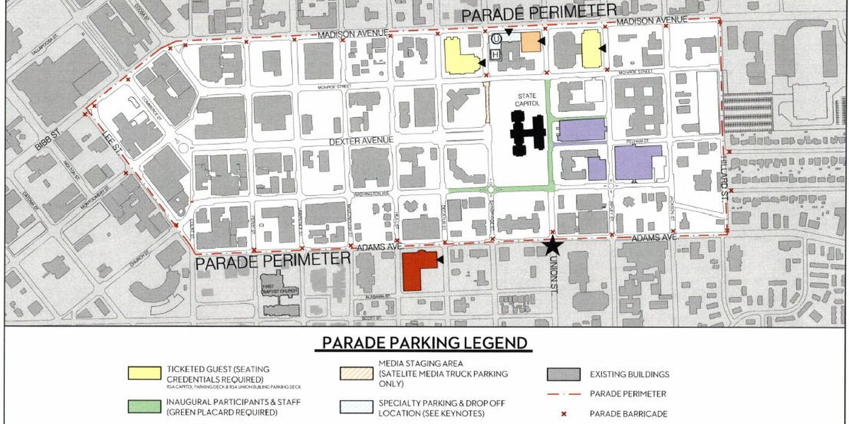 Downtown road closures for Monday's inauguration, parade