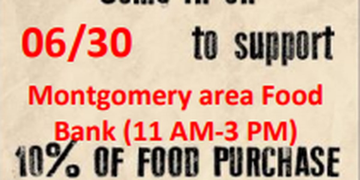 'Dine to Donate' to the Montgomery Area Food Bank Saturday