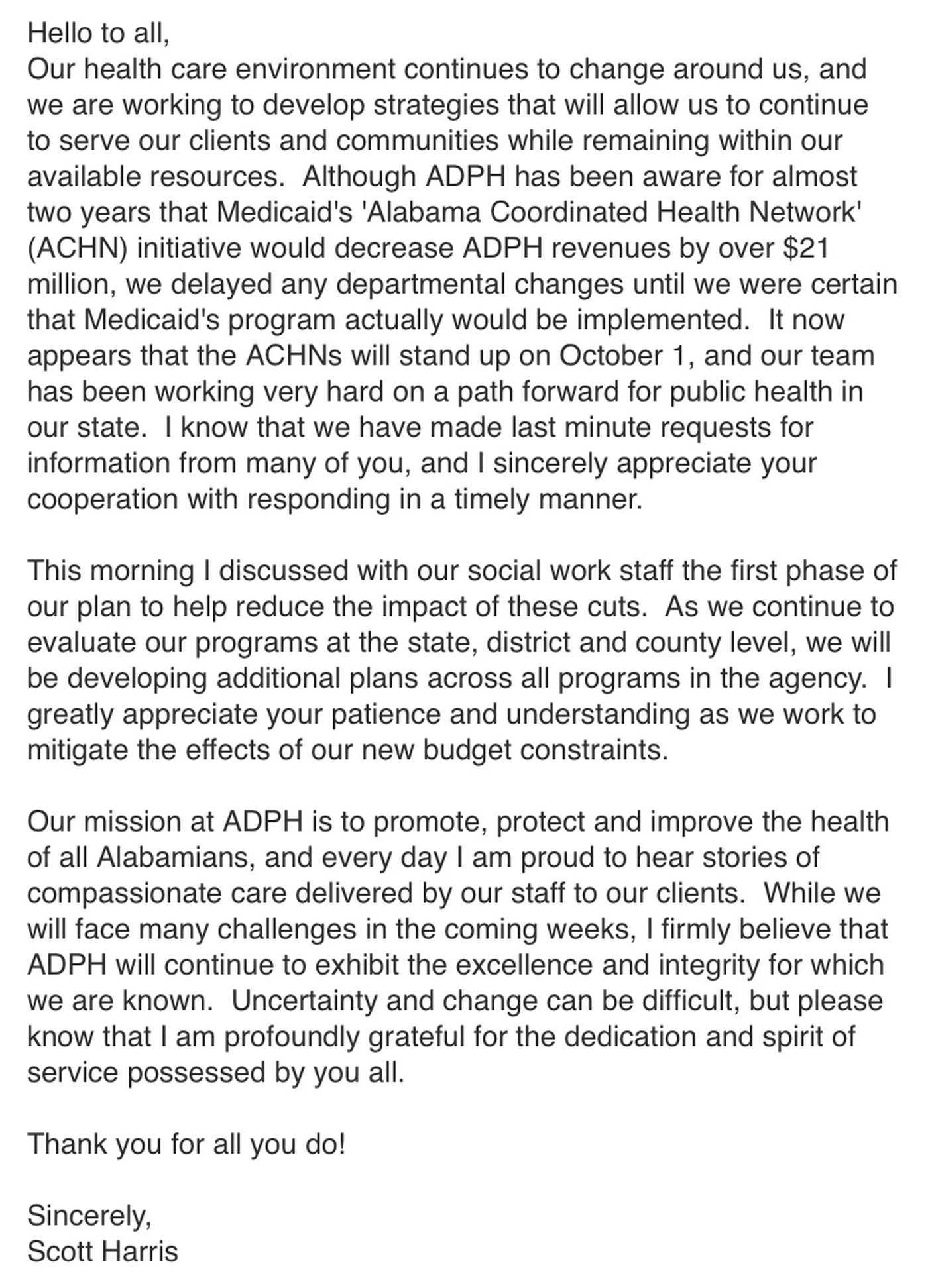 Alabama State Health Officer Dr. Scott Harris sent an email to ADPH employees about budget challenges.