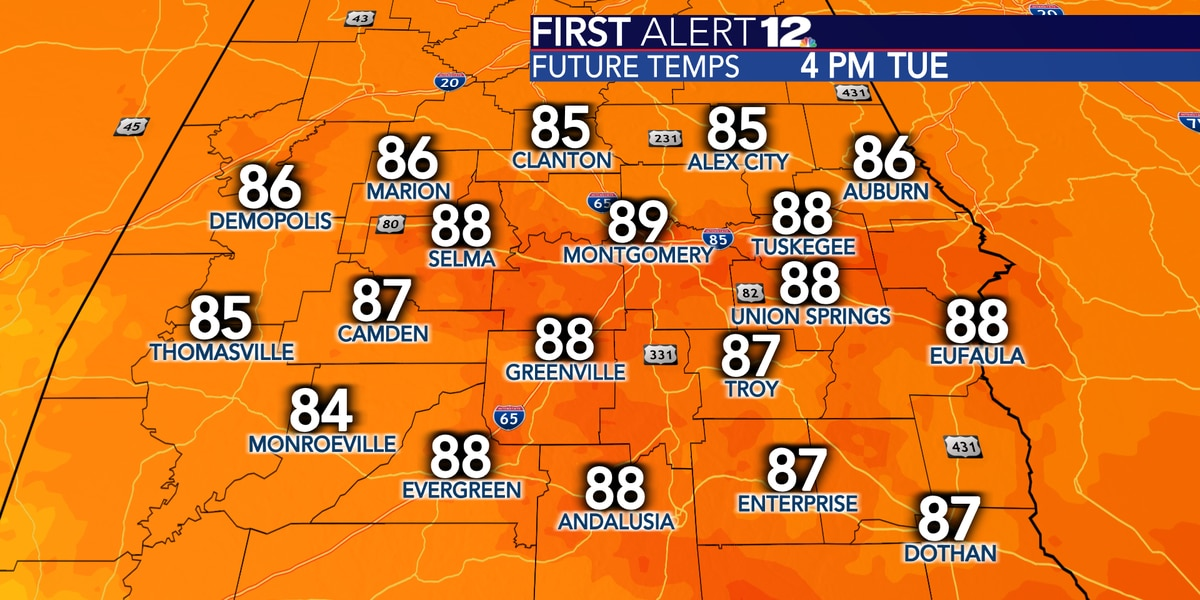 Not far from 90° today, rain chances then return