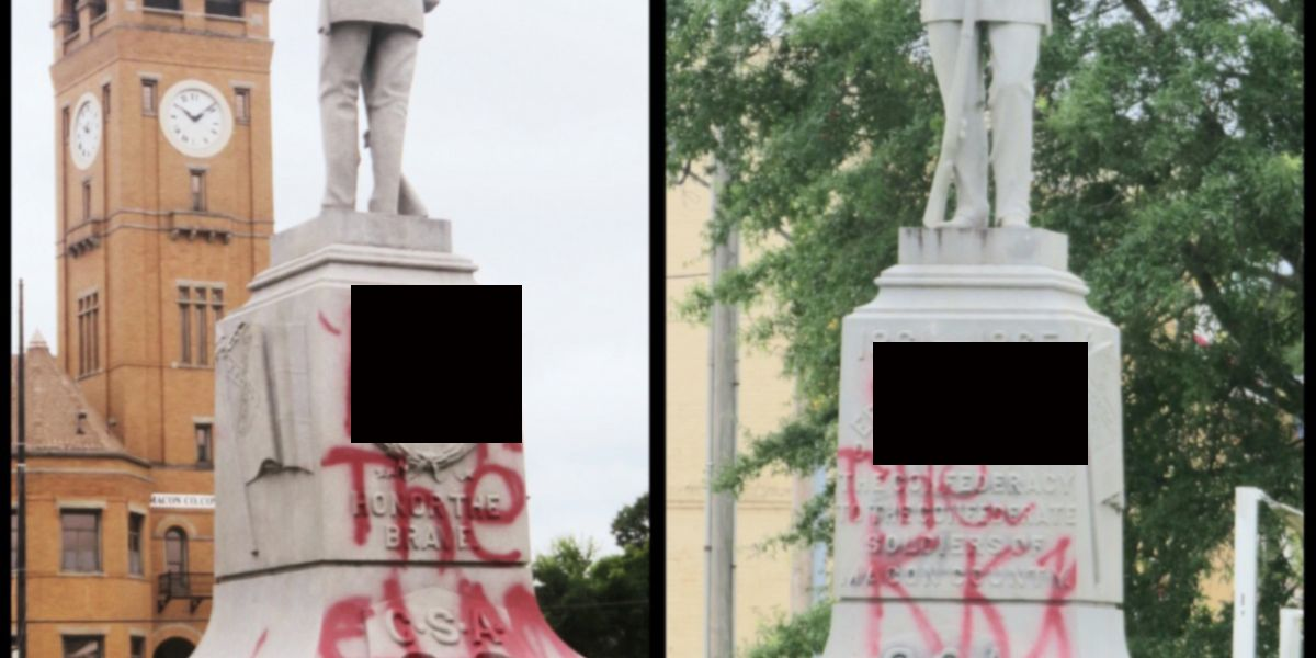 Confederate statue in Tuskegee spray painted with expletives