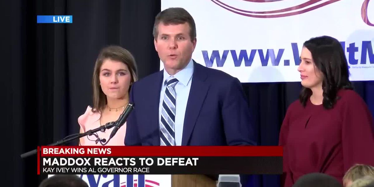 Walt Maddox speaks after loss to Kay Ivey