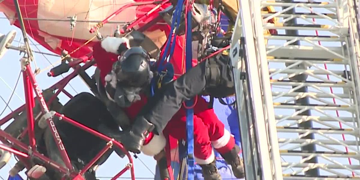 Parachuting California Santa rescued after getting tangled in powerlines