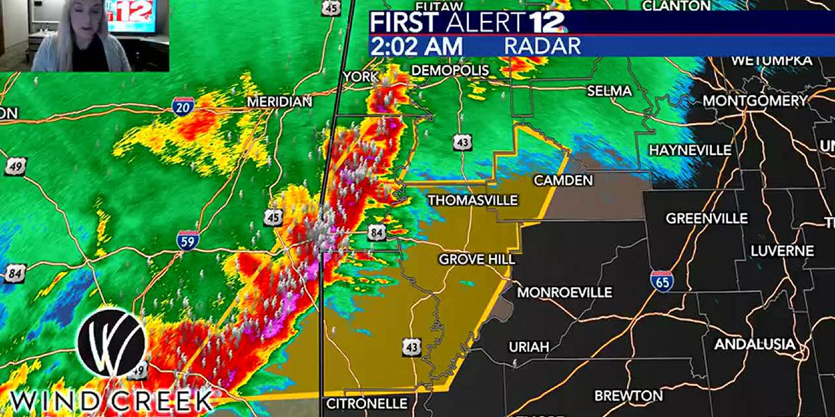 2am Update: Severe storms now moving into our area
