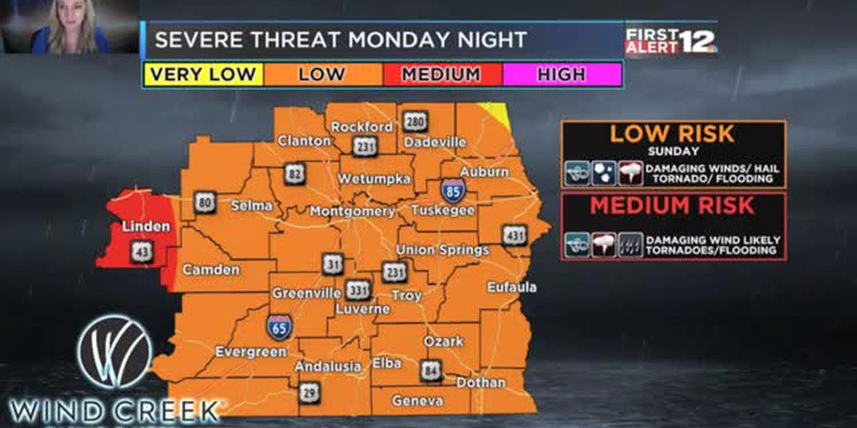 Risk for strong storms Monday night