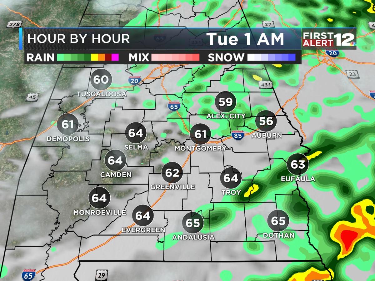 Widespread rain tonight; colder Wednesday and beyond