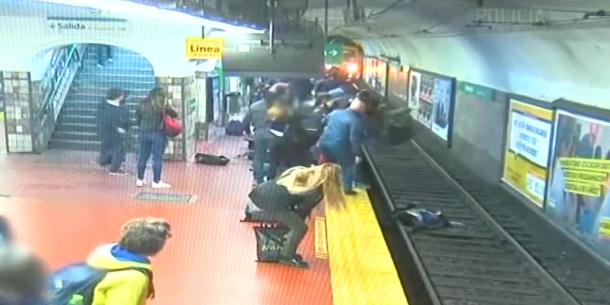 Video: Woman in Argentina falls onto tracks; train misses her by inches