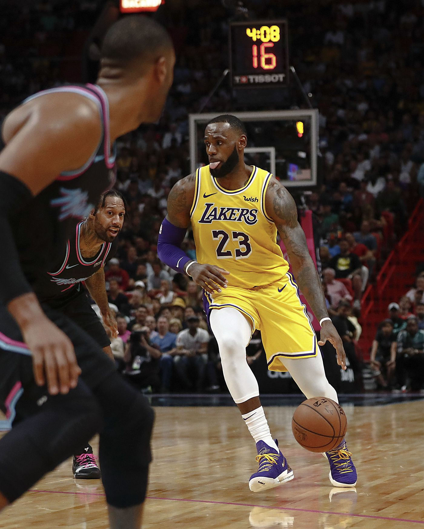 31f6d73ff2ac0 Los Angeles Lakers forward LeBron James dribbles the ball during the first  half of the team s