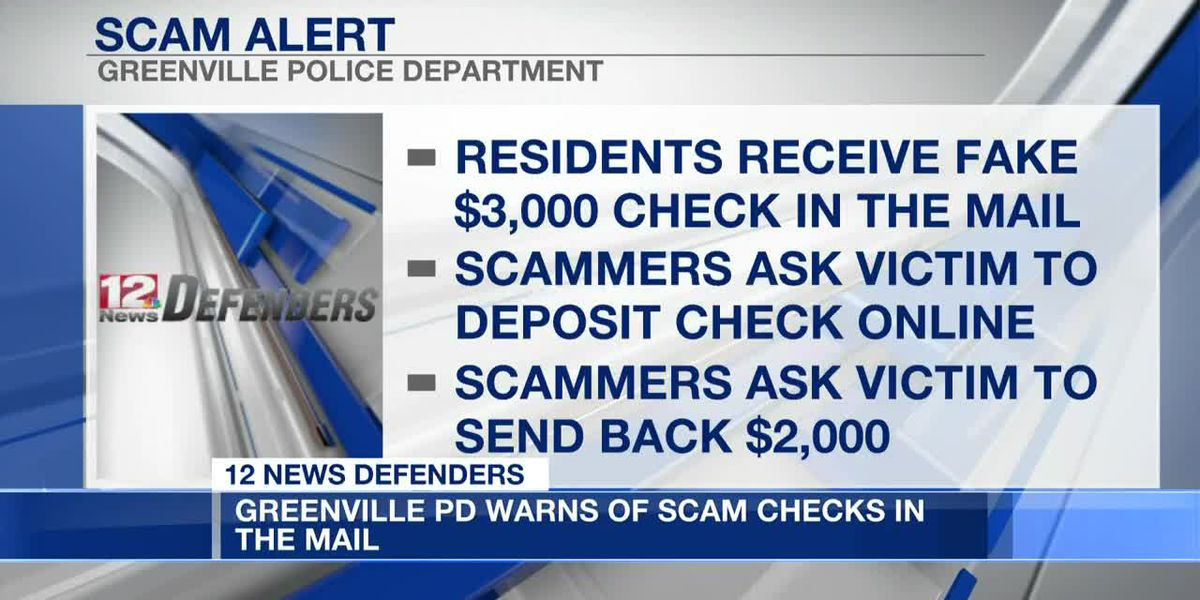 Greenville police warn of scam checks in the mail